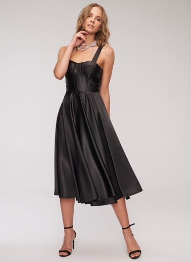 People By Fabrika Saten Elbise Siyah